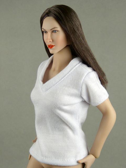Cy Female Black V-Neck T-Shirt 1//6 Phicen Nouveau Toys Hot Toys Kumik