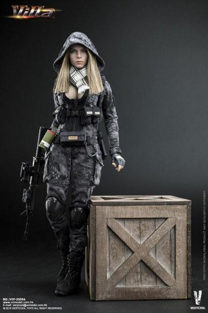 VeryCool 1/6 Scale Female Figure Black Python Stripe Camouflage Villa  Sister Box Set
